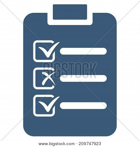 Check List vector icon. Flat blue symbol. Pictogram is isolated on a white background. Designed for web and software interfaces.