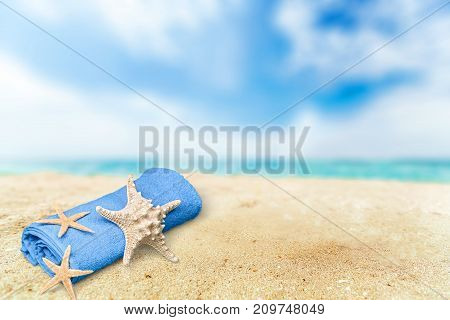 Star beach sand starfish blue background colorful