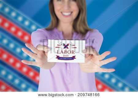 Smiling businesswoman showing blank sign against focus on stars