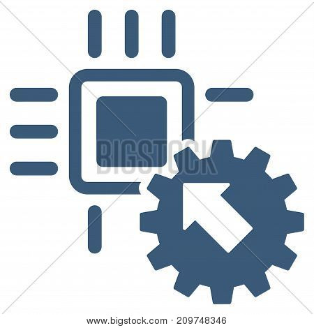 Hitech Processor And Gear Integration vector icon. Flat blue symbol. Pictogram is isolated on a white background. Designed for web and software interfaces.
