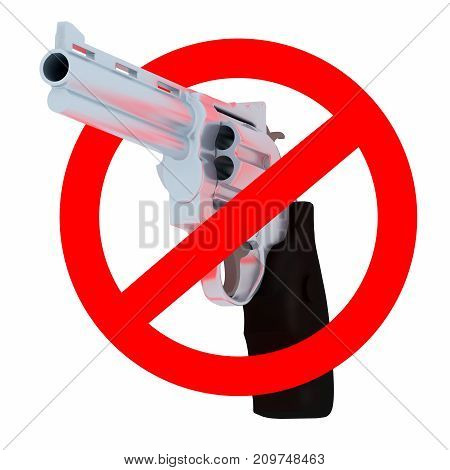 Red prohibition sign. crossed gun isolated on white 3d illustration