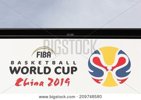 Mies, Switzerland - October 1, 2017: FIBA word cup China 2019 advert on a wall at the FIBA headquarters in Mies, Switzerland