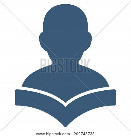 Reader Student vector icon. Flat blue symbol. Pictogram is isolated on a white background. Designed for web and software interfaces.