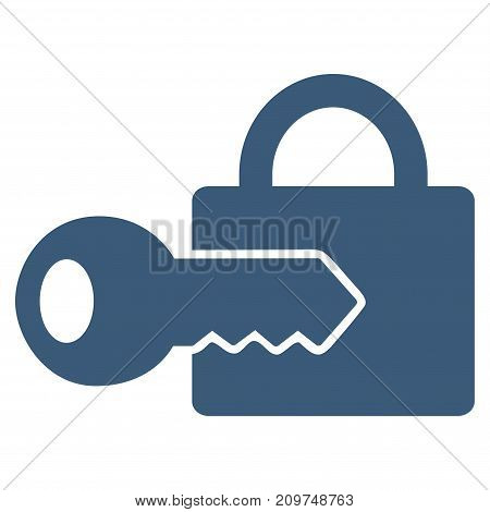 Registration Key vector icon. Flat blue symbol. Pictogram is isolated on a white background. Designed for web and software interfaces.