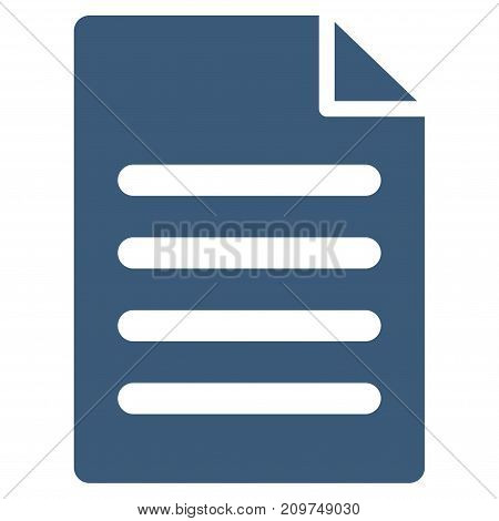 Text Page vector icon. Flat blue symbol. Pictogram is isolated on a white background. Designed for web and software interfaces.