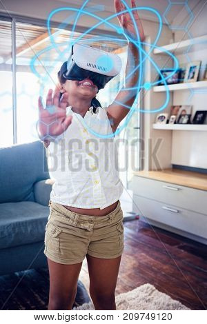 interface against girl wearing virtual reality simulator in living room