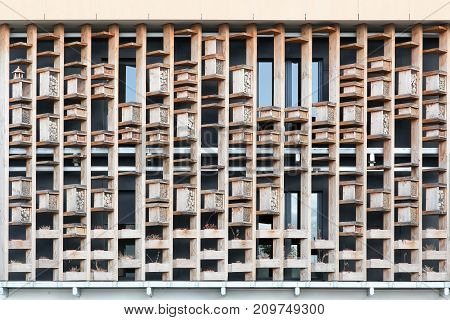 Insect Hotels on a wall of a building