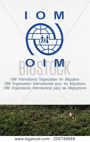 Geneva, Switzerland - October1, 2017: IOM, The International Organization for Migration is an intergovernmental organization that provides services concerning migration to governments and migrants