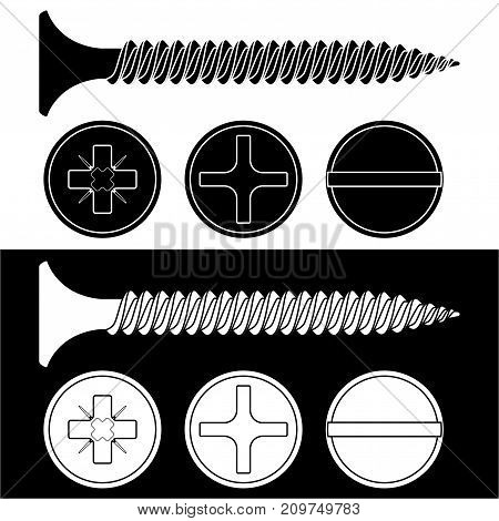 Wood screw. Black and white icons with screw heads. Vector illustration