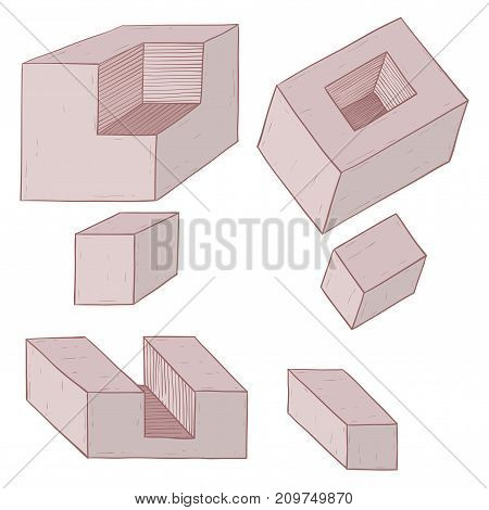 Geometric shapes. Brown figures. Hand drawn sketch. Vector illustration isolated on white background