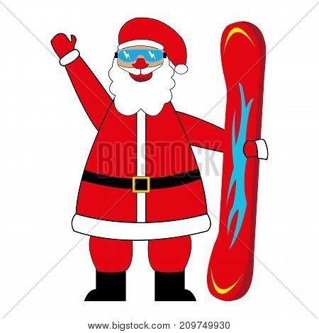 santa claus snowboarder on white background illustration