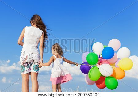 Girl air woman balloons preadolescent child colorful young