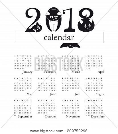 2018 calendar with funny cats as a digits - week starts on Sunday - original funny illustration