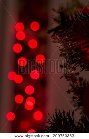Christmas Background With Golden Stars And Sparkling Party Lights