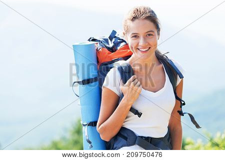 Beautiful female young hike hiker young adult background