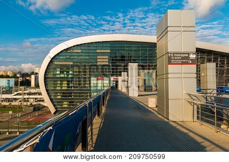 Adler Sochi Russia - June 23 2017: View of the second floor of the railway station in Adler is sunny day