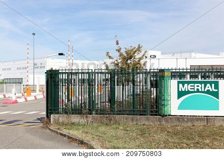 Saint Priest, France - October 7, 2017: Merial industrial site in Saint Priest in France. Merial is a multinational animal health company