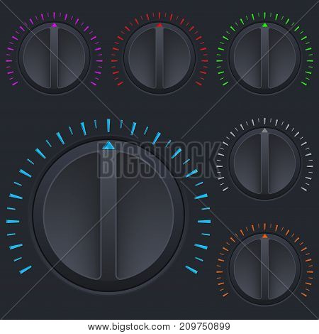 Black round buttons. Car dashboard knobs. Vector 3d illustration