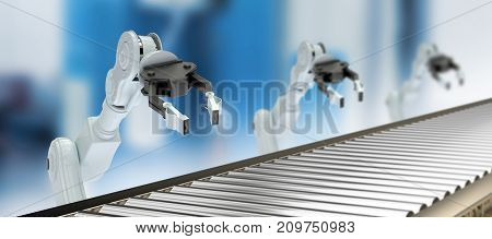 Digital image of empty production line against empty work station