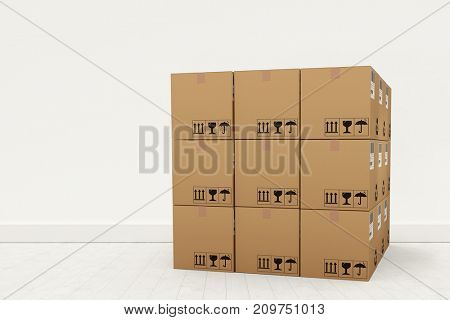 Computer generated image of cardboard boxes against gray flooring and wall