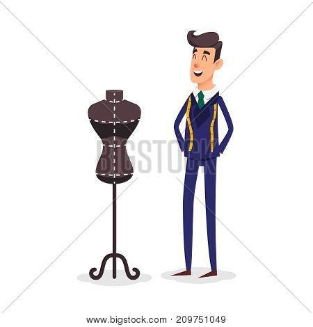 Cartoon happy tailor couture with a centimeter ribbon around his neck. Fashion designer standing near the dummy. Seamstress with tape measure. Dressmaker and female mannequin. Tailors fashion stand.