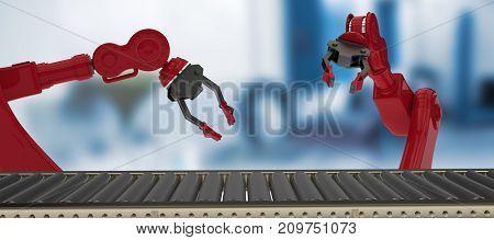 Digital image of empty conveyor belt against empty work station