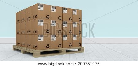 Pile of brown cardboard boxes arranged on wooden pallet against blue wall by hardwood floor