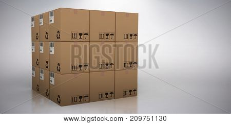 3D image of cardboard boxes against grey background