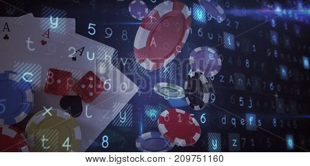 Virus background against overhead view of casino tokens with dice and playing cards