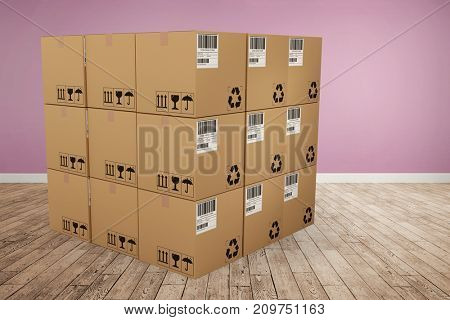 Digital image of cardboard boxes against room with wooden floor
