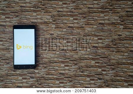 Los Angeles, USA, october 19, 2017: Microsoft bing logo on smartphone screen on stone facing background