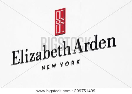 Ballerup, Denmark - September 10, 2017: Elizabeth Arden logo on a wall. Elizabeth Arden. is a major American cosmetics, skin care and fragrance company founded by Elizabeth Arden