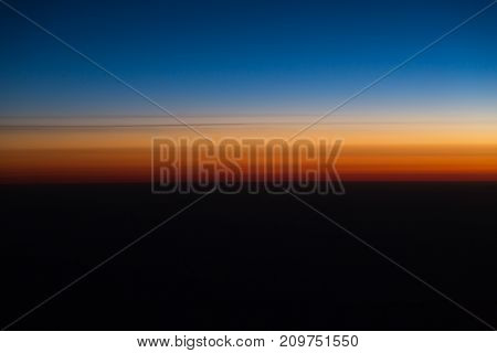 sunset view from the airplane . In the park in nature