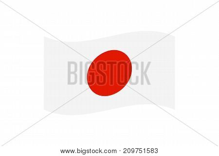 Vector illustration of the national Japan flag. White flag with a red disc in the center that symbolizes the Land of the Rising Sun.
