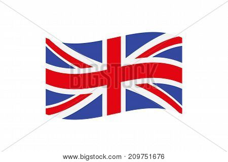 illustration of the Union Jack that is the national flag of the United Kingdom of Great Britain and Northern Ireland on white background.