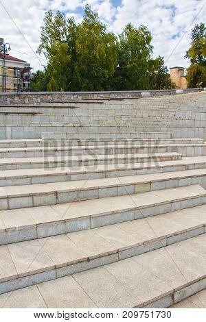 Photo of cement steps up in the street