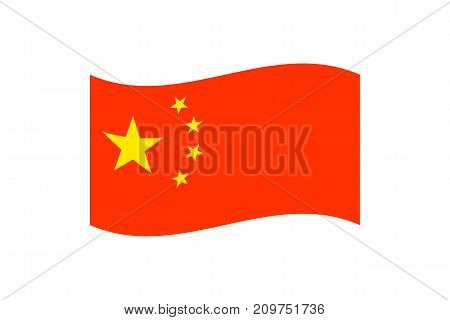 Vector illustration of the national flag of the Peoples Republic of China on white background.