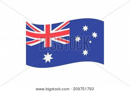 Vector illustration of the national flag of Australia on white background.