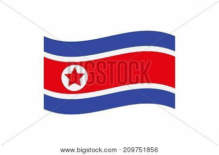 Vector illustration of the national flag of Democratic Peoples Republic of , North Korea on white background.