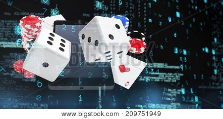 Virus background against smartphone with stack of casino tokens and playing cards