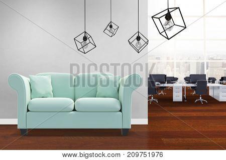 3d image of pendant light against white background against interior of office