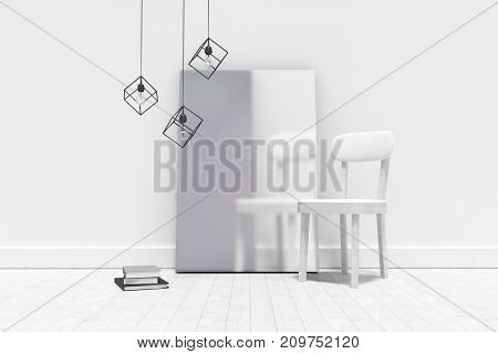 Empty chair by blank picture frame against wall at home