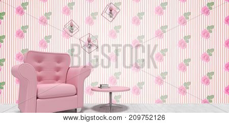 Decoration over pink armchair and table  against kitsch floral pattern wallpaper with roses
