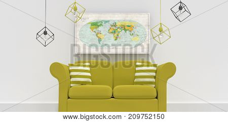 3d illustration of green sofa with cushions against close-up of directional map