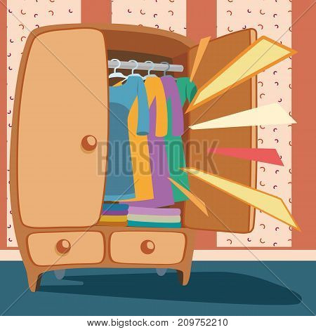 Wardrobe door opened with clothing against a background with patterns . Attention marks signal a clothing store promotion or a sale in a marketing banner modern vector illustration design