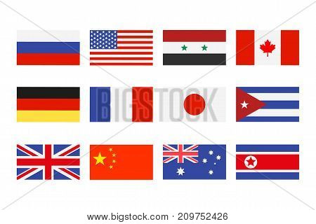 Vector illustration set of the national flags on white background.