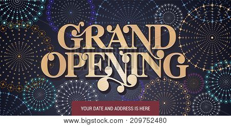 Grand opening vector background. Red ribbon cutting ceremony design element for opening event