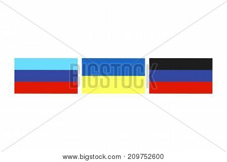 Vector illustration of the flags of self proclaimed Luhansk Peoples Republic and Donetsk Peoples Republic and also the state flag of Ukraine on white background.
