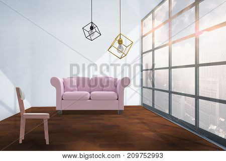 3d image of pendant light against interior of empty room