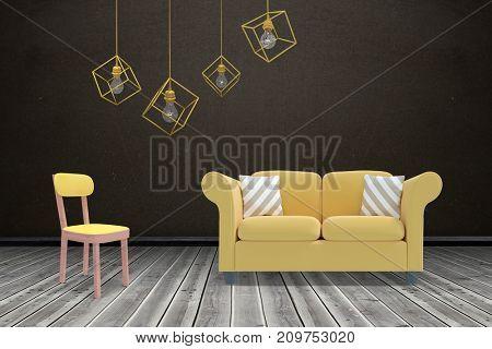 3d image of yellow pendant light against white background against dark room